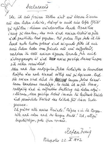 Abschiedsbrief Stefan Zweigs