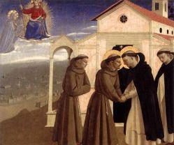 Angelico, incontro tra san francesco e san domenico