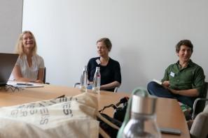 """Über das Schreiben und Verlegen sprachen Mariana Leky (""""Was man von hier aus sehen kann"""", Verlegerin Sabine Cramer und Tilman Strasser"""